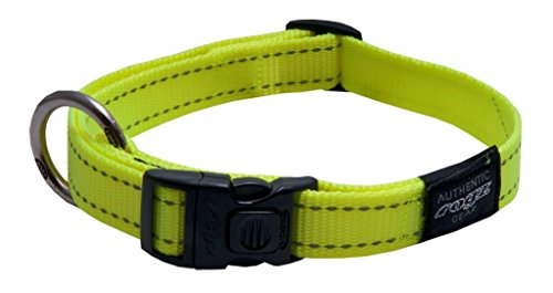 - ROGZ Reflective Dog Collar for Large Dogs, Adjustable from 13-22 inches, Yellow