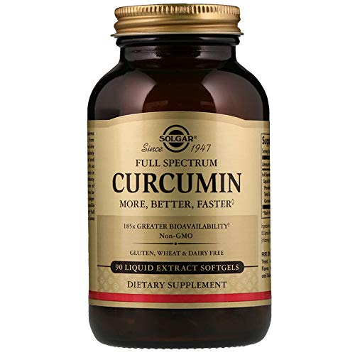 Solgar Full Spectrum Curcumin - 90 Liquid Extract Softgels - Brain, Joint, Immune Support Supplement, Anti inflammatory, Antioxidant - Non-GMO, Gluten Free - 90 Servings