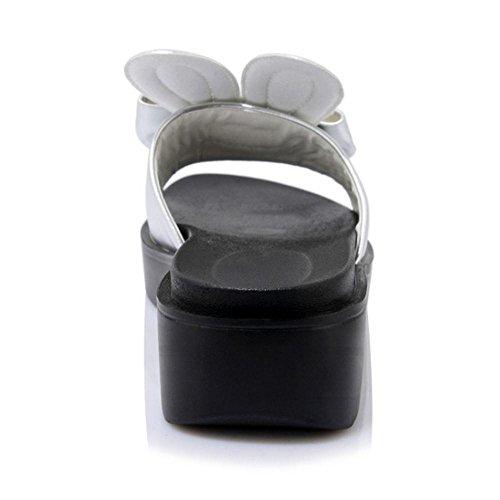 Cute Women's TAOFFEN Silver On Mules Slip Shoes Slippers gAqqZwHC