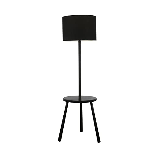 Modern Gloss Black Wooden 3 Legged Floor Lamp With Integrated Table Complete With A Black Cylinder Light Shade
