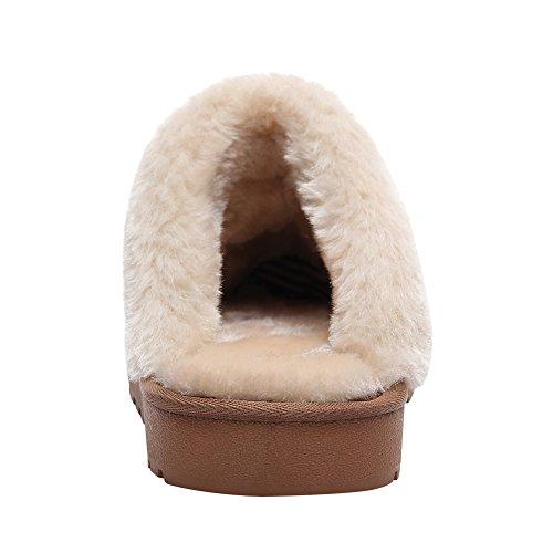 Suédé Doublée Mules Chaude Douillet Fourrure Femmes Cuir Hommes Intérieur Chambre Chaussons Yirenhuang Confortable Chaussures de Bronzer wq4FInR