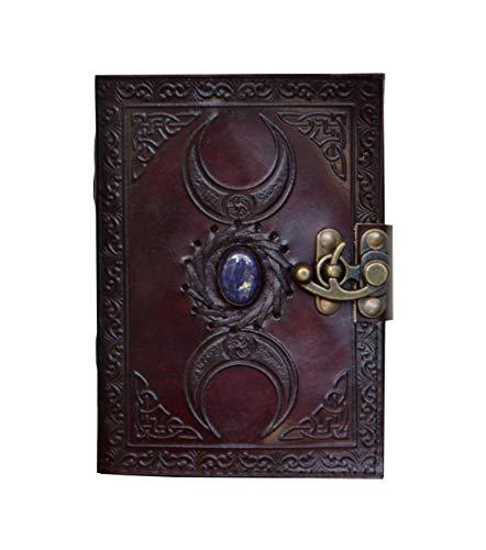 Vintage Leather Bazaar New Design Celtic Triple Moon Goddess Notebook with Royal Blue Lapis Lazuli Gemstone Stone Design 7 x 5 Inches -