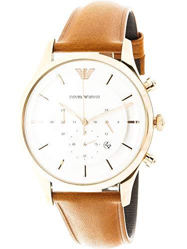 Emporio Armani Men's Quartz Stainless Steel Dress Watch, Color:Brown (Model: AR11043)