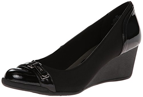 Anne Klein Sport Women's Tamarow Fabric Wedge Pump, Black, 7.5 M US