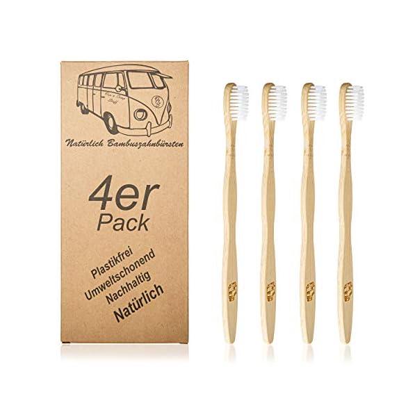 410qjpes3GL 4er-Pack Bambuszahnbürsten Natürlich Van & Camp Stuff Ökologisch nachhaltig abbaubar VW Bus Logo Holz recyclebar Bambus…