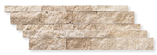 Ivory (Light) Travertine 7 X 20 Stacked Ledger Wall Panel Tile, Split-faced (25 PCS.) by Oracle Tile & Stone
