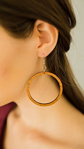 Wood Hoop Earrings from Natural Reclaimed Mahogany (Hipster Bottoms Ring Side)