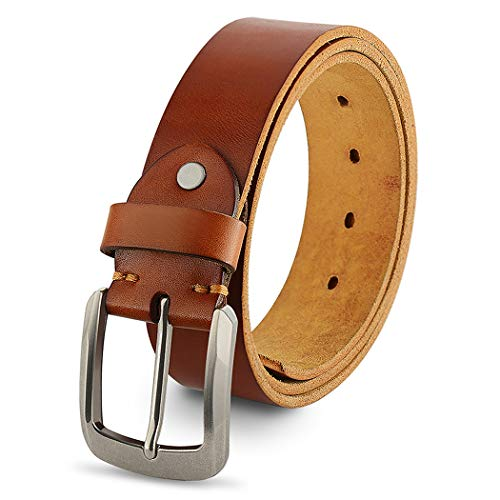 Leather Italy Fashion - Genuine Leather Belts For Men, 100% Full Grain Fashion Mens Belt For Casual Wear, With Antique Alloy Buckle, Orange.