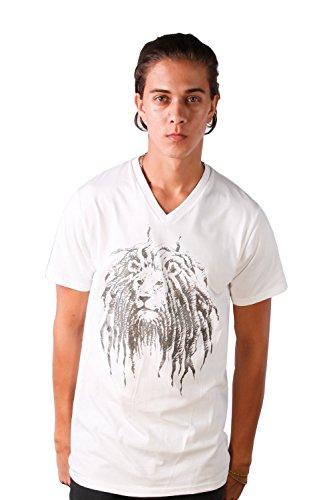 Cooyah Lion Face Sparkle Rasta Dreadlock Men T-shirt