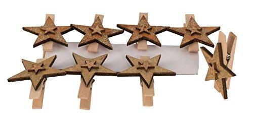 40 x Stern Klammer Holzklammer Dekoklammer