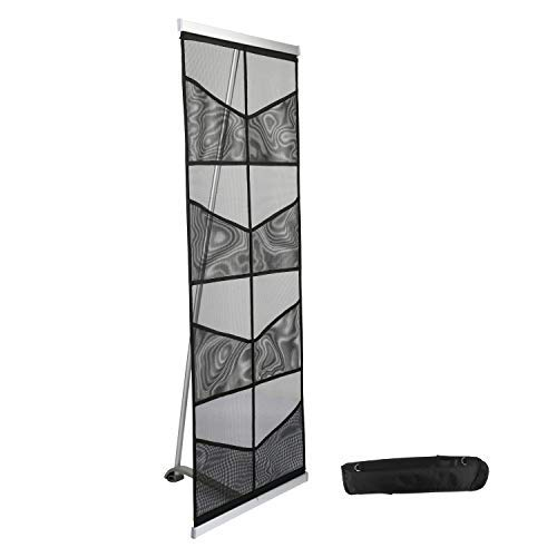 Mesh Floor Catalog Rack - Roll Out Brochure Holder - Portable Literature Display - Leaflet Holder - for Tradeshow and Office US (8 Pockets)