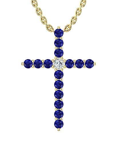 14k Yellow Gold timeless cross pendant set with 15 celestial blue sapphires (1/4ct, AA Quality) encompassing 1 round white diamond, (.025 ct, H-I Color, I1 Clarity), suspended on a 18