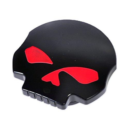 Ocamo Cool Motorcycle CNC Aluminum Skull Eye Fuel Gas Oil Tank Cap for Harley Davidson black; thread diameter:41mm