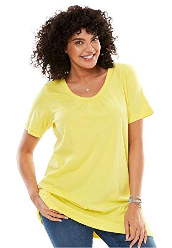 Womens Plus Size Perfect Shirred V Neck Tunic Lemon Cream 1X