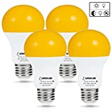 yellow energy smart light bulb - LOHAS Amber Light Sensor Dusk to Dawn LED Bulbs, Bug Light Bulb Yellow LED A19, Porch Lights Security Outdoor, Smart Sensor Lighting 2000K, 40W Amber LED Auto on/off, Bugs Free E26, 500 Lumens(4PACK)