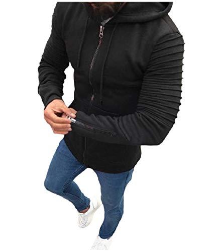 Intera Maniche Giacche Con Cappuccio Nero Lunghe Mens A Fino Xinheo Cardigan Outwear Zip Drappo wEqPHXxv