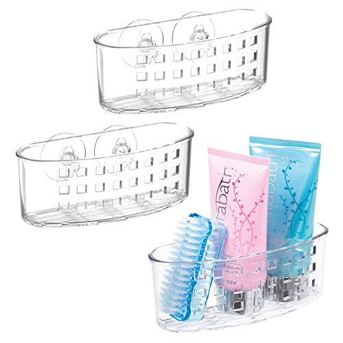 mDesign Plastic Suction Shower Caddy Storage Basket - Soap and Sponge Holder for Bathroom Organization of Body Wash, Loofahs, Razors, Small Shampoo and Conditioner Bottles, Bath Bombs - 3 Pack - Clear