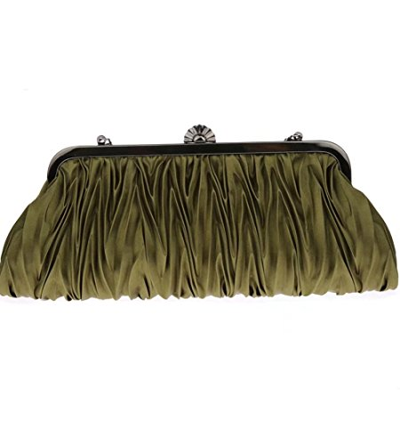 Wedding Party Prom green Bag Clutch Satin Pleated Bags Handbags Red Evening Womens Puluo for BSqf1Zv