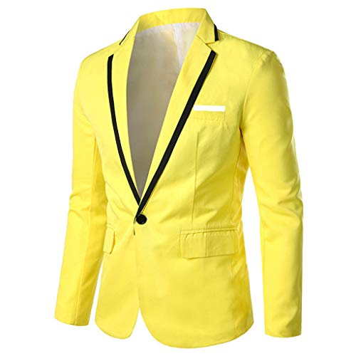(TIFENNY Men's Stylish Suit Casual Solid Lapel Blazer Business Wedding Party Outwear Coat Suit Tops One Button)