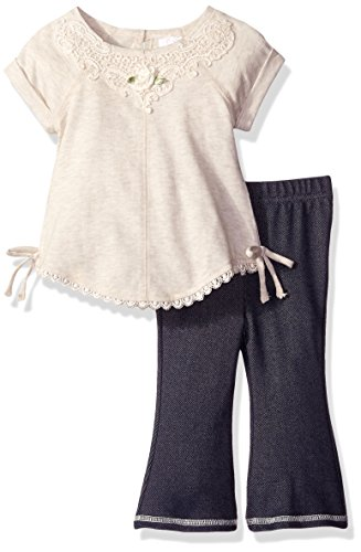 Youngland Baby Girls' Tunic and Denim Bell Bottom Set, Oatmeal, 24 Months