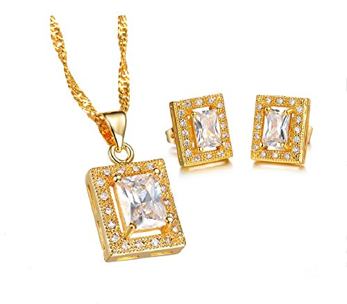 The New 18k Gold-plated Jewelry Wholesale Diamond Necklace + Earrings Bridal Gifts 624 (white)