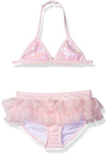 Mack 2 Kate Swimsuit Piece - Kate Mack Little Girls Pom Party Skirted Swim Bikini, Pink, 5