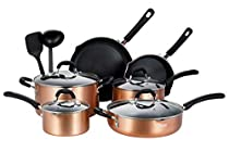 EPPMO Copper Nonstick Cookware Set, Dishwasher Safe and Oven Safe Pots and Pans, 12-Piece, Various Sizes of Fry Pan and Saucepan, Aluminum (12, Copper)