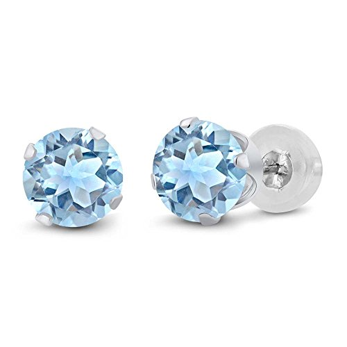 Blue Topaz With Diamond Earring - Gem Stone King 14K White Gold Sky Blue Topaz Gemstone Birthstone Stud Earrings (2.39 cttw, 6MM Round Cut)