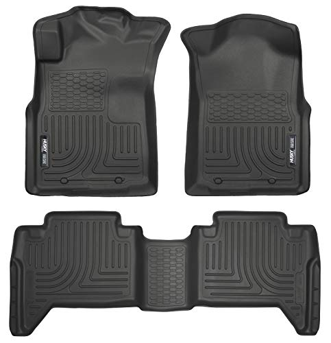 Husky Liners 98951 Black Weatherbeater Front & 2nd Seat Floor Liners Fits 2005-2015 Toyota Tacoma Double - Mats All Weather Tacoma