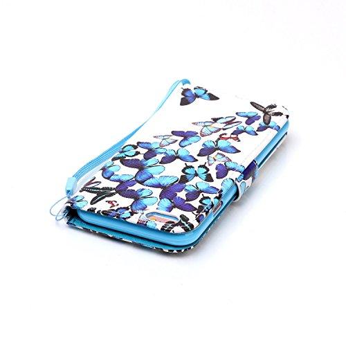 Funda de piel para Smartphone Apple iPhone 6(4.7pulgadas), funda tipo libro con tarjetero, función atril + tapón anti-polvo negro 4 9