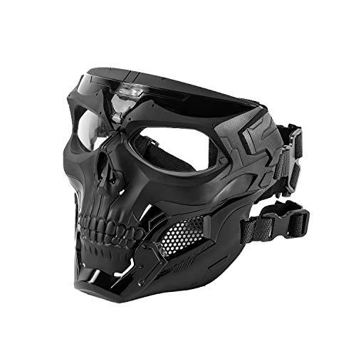 OneTigris Skull Messenger Full-Face Mask for Airsoft Helmet (Black)