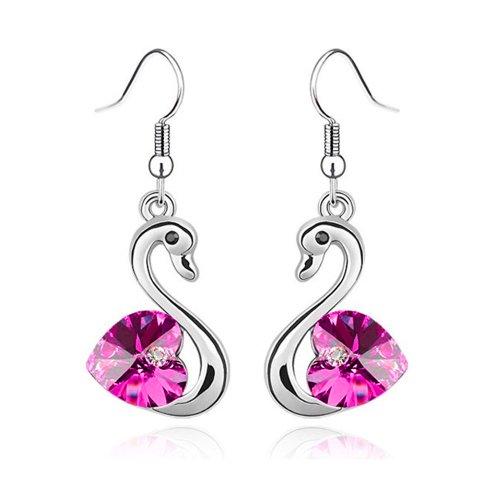 LOCOMO Pair of Swan Lake Love Heart Bling Bling Clear Crystal Rhinestone Electroplated Pendant Drop Earrings Purple Red (Asian Purple Earrings)