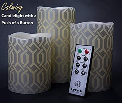 """Levavly Flameless Candles Set of 3 – Real Wax LED Candles with Remote Control, Timer & Batteries Included– Flickering Votive Pillar Candles, Special Design 4"""" 5"""" 6"""" Ivory & Silver"""
