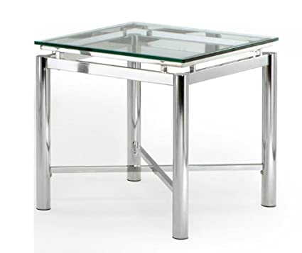 Steve Silver Nova End Table With Beveled Tempered Glass Top In Chrome