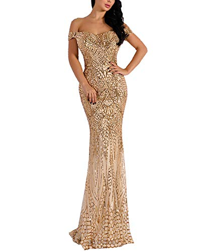 WRStore Women's Off Shoulder Sequined Evening Party Maxi Dress for Prom Gold X-Large
