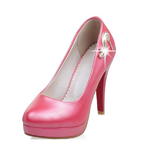 AllhqFashion Women's Pull-on High-Heels PU Solid Closed Round Toe Pumps-Shoes, Peach, 41