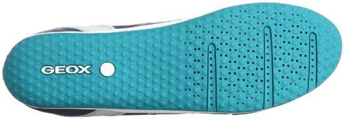 Geox D VEGA A - Caña baja de cuero mujer azul - Blau (NAVY C4002)