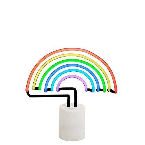 SunnyLIFE Indoor Decorative Neon Light Figurine Tube Desk Lamp with Adjustable Dimmer - Rainbow, Large Neon Lamp Light