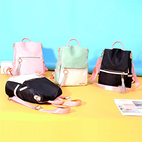 LLXIAO 2020 Women Backpack Ladies Rucksack Solid Color PU School Bags Anti-theft Shoulder Bags (Beige)
