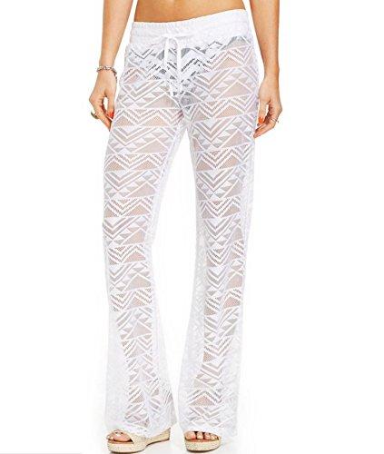 Miken Women's Crochet Lace Swim Pants Cover Up (M, Bright White)