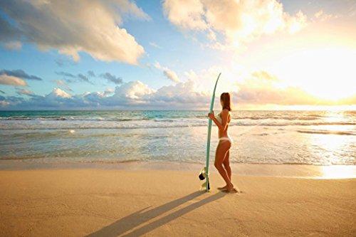 (Asian Woman Beauty Holding Surfboard Sandy Beach Photo Art Print Poster 36x24 inch)