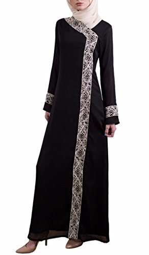 Nakhl Black Embroidered Modest Long Sleeve Formal Abaya, used for sale  Delivered anywhere in USA