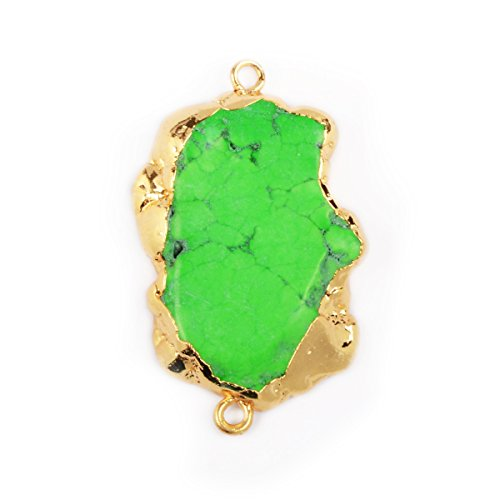 JAB Green Turquoise Slice Connector Gold Plated Freeform Gemstone Pendant Connector Jewelry
