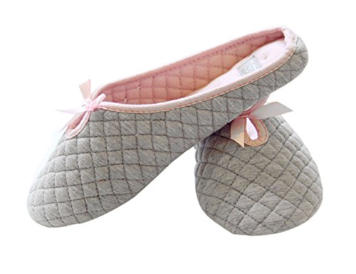 Women's Ladies Plain Warm Slipper Cotton Flat Slip On Mule Lovely With Bowknot for Winter Spring Autumn, Size 4 5 6 UK Grey