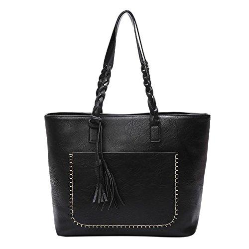 Domybest - Bolso mochila de Piel para mujer negro