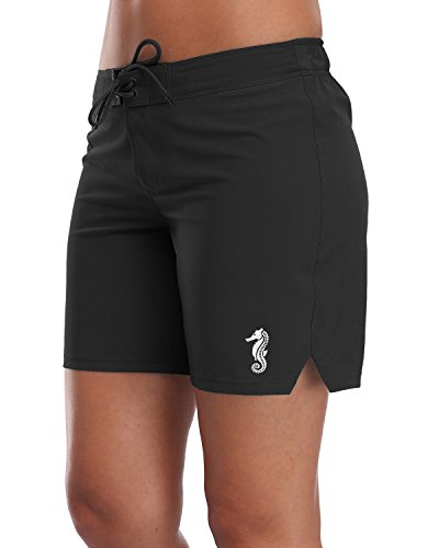 Sociala Womens Board Shorts Swim Trunks Beach Boardshorts Swimwear XL Black
