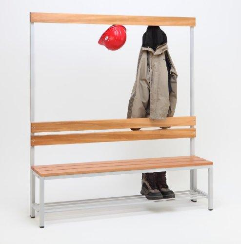 Garderoberückwand (1-seitig) + 1 x Sitzbank, HxBxT:170x150x30 cm, mit Schuhrost, Marke: Szagato (Umkleidesitzbank, Umkleidebank, Garderobenbank, Bank)