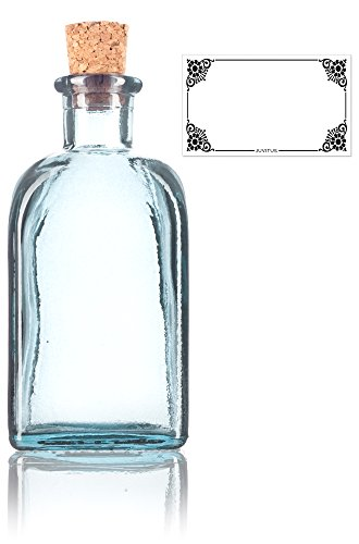 Clear Spanish Thick Recycled Glass Bottle with Natural Cork Top - 8 oz / 250 ml