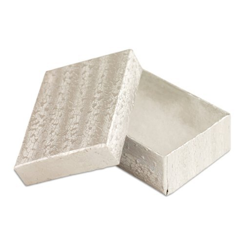 Foil Jewelry Gift Boxes - 100 pcs Silver Cotton Filled Jewelry Gift Boxes 3x2