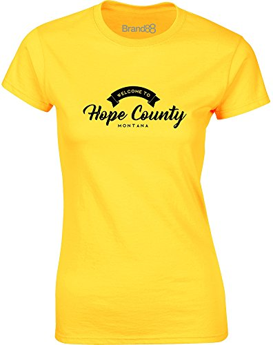 Brand88 Hope County, Ladies T-Shirt - Daisy/Black XL = 8-10 County Daisy